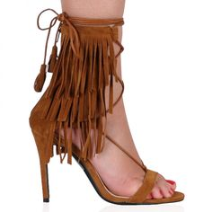 Holly Fringed Stilettos in Tan Faux Suede