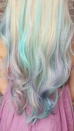 Beautiful platinum blonde hair with unicorn balayaged ombré teal, pink, blue, and violet color. Mermaid hair cut and color by Maura D'arcy IG@MAURADARCY