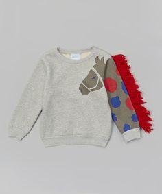 Gray Horse Sleeve Sweatshirt - Toddler & Kids