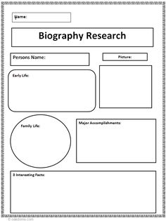 Biography Writing Grades Kindergarten And   Informational