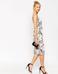 Image 4 of ASOS Hitchcock Pencil Dress In Dusty Pink Floral