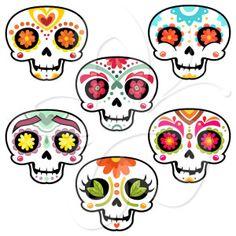 Sugar Skulls Clip Art Set