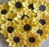 Items similar to Sunflowers, Daisies, Small Appliques, Embellishments for Scrapbooking - set of 12 on Etsy Crochet Puff Flower, Crochet Sunflower, Crochet Flower Patterns, Flower Applique, Love Crochet, Crochet Flowers, Knit Crochet, Easy Crochet, Crotchet