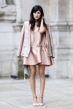 street style - ultra feminine pastel pink dress and matching blazer, paris fashion week