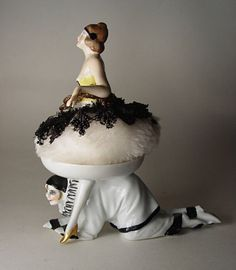 Art Deco Porcelain Pierrot Powder Puff Holder w Pierrot Half Doll Puff