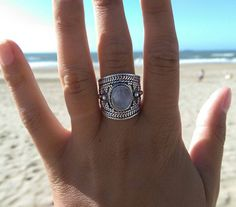 Hey, I found this really awesome Etsy listing at https://www.etsy.com/listing/205545190/moonstone-gypsy-thumb-ring-silver-amulet