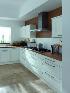 Loving the combination of white units with wooden worktops, looks very fresh and. Interior Design Kitchen, Home Decor Kitchen, Kitchen Room Design, Home Kitchens, Kitchen Units, Kitchen Design Small, White Shaker Kitchen, Kitchen Remodel, Kitchen Renovation