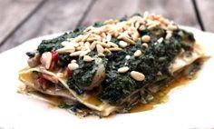 Lasaña fría de langostinos y almejas con pesto de piñones - El Aderezo - Blog de Cocina
