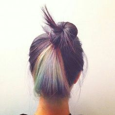 top knot with rainbow dye