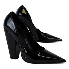 Pre-owned Givenchy Black Patent Leather Pointed Toe Pumps (3,520 MXN) ❤ liked on Polyvore featuring shoes, pumps, black, high heel pumps, black patent leather shoes, thick-heel pumps, pointy-toe pumps and black chunky heel pumps #givenchyshoeshighheels