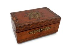 WWII Era Marquetry Box with Inlaid Star w/Original Photo of WWII Soldier Working Lock and Key