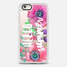 Hello Summer Watercolor Floral - protective iPhone 6 phone case in Clear and Clear by Jande Laulu #floralprint | @casetify