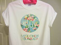 b4e2450032e7 5SOS Five Seconds Of Summer Floral Logo White by CandyShopGifts