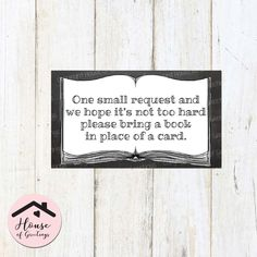 This listing is to purchase a sheet of Storybook Book Request Card Inserts. Invite your guests to bring a book in place of a card to add to your childs library! These feature an open storybook with text on top. These can be personalized. See below for how to personalize these storybook book request cards.  You will receive a hi-resolution PDF and JPEG in size 8.5x11 (letter sized), perfect for at-home printing or with a printer of your choice. The book insert cards are 3.5x2 and come ten to…