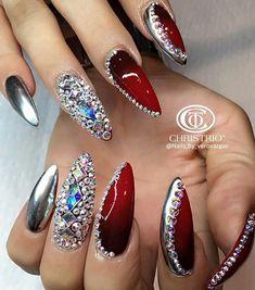 Metallic silver red rhinestone nails nailart design