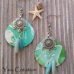 Boucles d'oreilles en soie peinte à la main, modèle unique, vert, turquoise, blanc