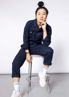 This navy red black or green cotton stretch blend workwear coverall features a classic fit. By Wildfang. Queer Fashion, Tomboy Fashion, Work Fashion, Fashion Fashion, Edgy Outfits, Fashion Outfits, Fashion Blogs, Fashion Trends, Overalls Women