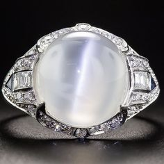 Cat's eye MOONSTONE!?! Phenomenal!  (9ct Moonstone & Diamond Ring…