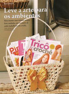 """Crochê da Mimi"": Crochê Endurecido: Porta revistas!!!"