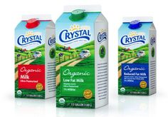 Foster Farms Dairy: Crystal Dairy  Milk Carton Package Design #marketing #design
