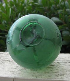 Japanese 3-Piece Mold Glass Fishing Float - Baseball Size, Alaska Beachcombed, Green, Frosted, Net Marks
