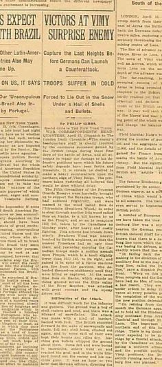 WWI NYT April 14 1917 Defining Canadian Victory at Vimy Ridge Battle of Arras