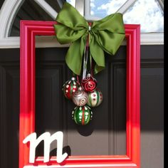 Christmas Frame Wreath with Burlap Hanger | More Frame wreath ...