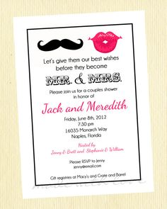 Mr. and Mrs. Couples Shower Invitation.  Mustache and Lips.