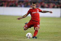 Toronto FC midfielder Sebastian Giovinco unloads on what would be the winning goal as Toronto FC beats the Montreal Impact 32 in the SemiFinal of the...