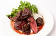 Onglet steak, pickled walnuts and horseradish