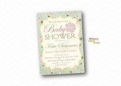 Floral Baby Shower Invitations  Printed or Printable Baby