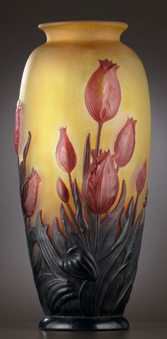 Tulips cameo glass vase by Émile Gallé, ca.1900, Nancy, France. 14""