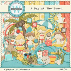 A Day At The Beach Digital Scrapbooking Kit