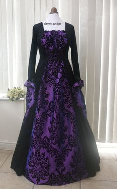 Medieval Gothic black and bold purple dress, Dawns Medieval Dresses