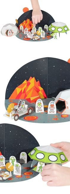 Space Paper Toy  DIY Papercraft Kit by pukaca on Etsy