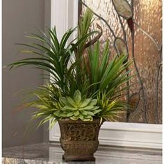 OfficeScapesDirect Yucca & Grass Tabletop Silk Plant