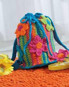 Fun flower striped beach bag, free crochet pattern Moss ༺✿ƬⱤღ  https://www.pinterest.com/teretegui/✿༻