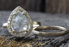 Natural Grey Rose Cut Diamond Ring with Pave Halo                                     – Alexis Russell