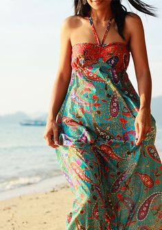 Sexy Strapless lovely paisley Sunny Long Maxi Dress  by Nuichan, $49.00