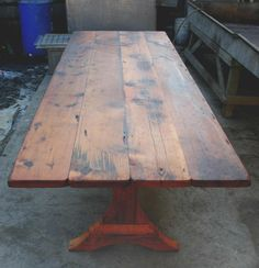 10 ft farmhouse table | Trestle legged farm table and bench: Architectural Salvage Online ...