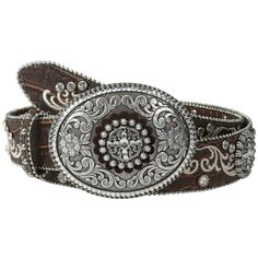 Ariat Embroidered and Studded Belt w/ Large Oval Buckle Women's Belts ($99) ❤ liked on Polyvore featuring accessories, belts, ariat belt, ariat, wrap belt, leather belt and embroidered belt