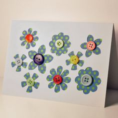 Mothers Day Button Flower Card £3.00