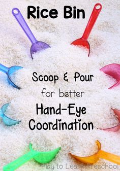 Take a simple sensory bin up a notch! Use these colorful props to scoop and pour rice. Develop strong hand-eye coordination with preschoolers.