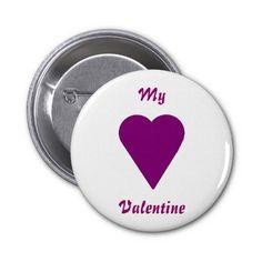 Valentine Button, Heart and My Valentine