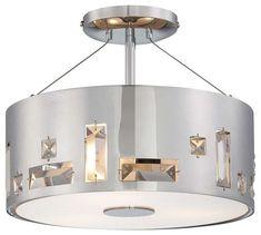 Kovacs P1091-077 3 Light Semi-Flush Ceiling Fixture in Chrome from the Bling Ban Chrome Indoor Lighting Ceiling Fixtures Semi-Flush
