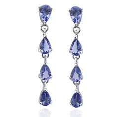De Buman Sterling Silver Genuine Tanzanite Solid Earrings * Click image for more details. Note:It is Affiliate Link to Amazon.