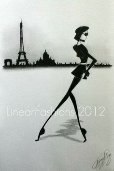 Paris Fashion Art Beatnik 60s Tres Chic by LinearFashions on Etsy, $40.00