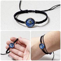 Mother Earth Macrame Bracelet Earth Jewelry Resin by KUKAJTUcom, $8.50