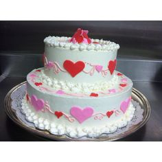 Shower cake with a valentine's theme