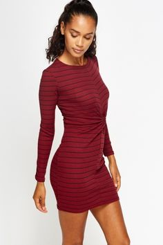 Striped Burgundy Twist Front Dress